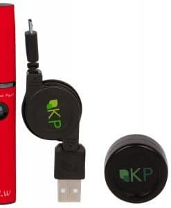 The Kind Pen v2.w personal vaporizer for concentrates full kit with charger, battery, pick, and concentrate container.