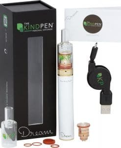The Kind Pen Dream personal portable vape pen for wax, dabs, concentrate, and shatter colored White. Includes battery, mouth piece, charger, and coil.