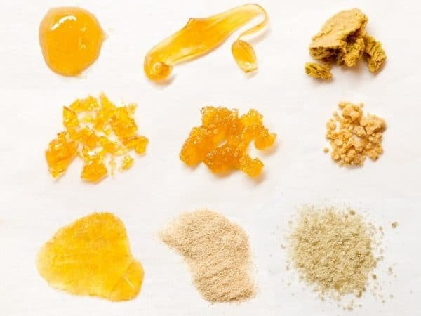 different weed concentrates on a white background