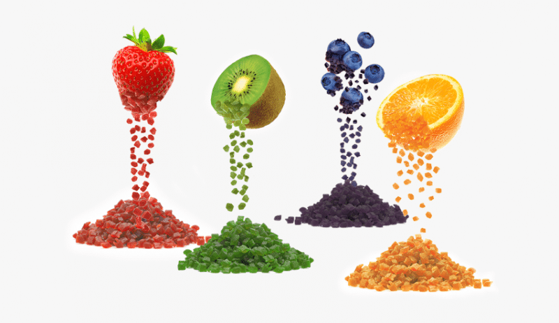 A graphic showing different fruits and flavors that can usually be found in vape juices.