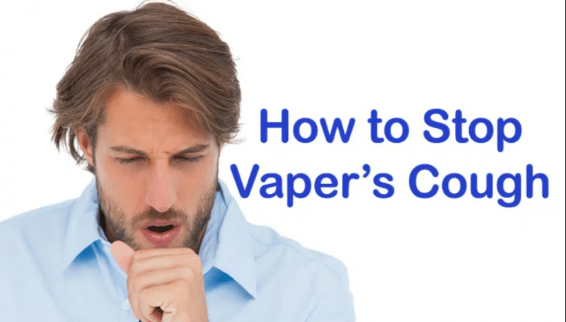 Vaper coughing after pulling a drag from a vape pen.